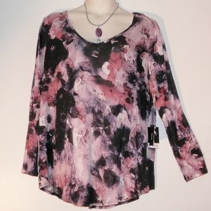 Simply Vera Wang 2X Purple Watercolor Stretch Top